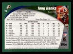 2002 Topps #70  Tony Banks  Back Thumbnail