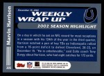 2003 Topps #305   -  Marvin Harrison Weekly Wrap-Up Back Thumbnail