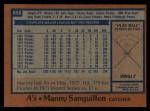 1978 Topps #658  Manny Sanguillen  Back Thumbnail