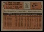 1972 Topps #680  Davey Johnson  Back Thumbnail