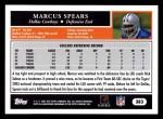 2005 Topps #383  Marcus Spears  Back Thumbnail