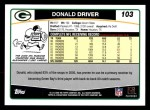 2006 Topps #103  Donald Driver  Back Thumbnail