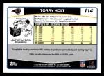 2006 Topps #114  Torry Holt  Back Thumbnail