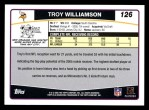 2006 Topps #126  Troy Williamson  Back Thumbnail
