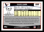 2006 Topps #225  David Carr  Back Thumbnail