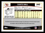 2006 Topps #243  Dante Hall  Back Thumbnail