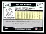 2006 Topps #271  Donovan McNabb  Back Thumbnail