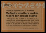 1988 Topps #3 ERR  -  Mark McGwire Record Breaker Back Thumbnail
