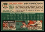 1954 Topps #33 WHT Johnny Schmitz  Back Thumbnail