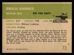 1961 Fleer #73  Erich Barnes  Back Thumbnail