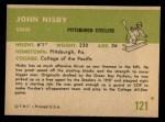 1961 Fleer #121  John Nisby  Back Thumbnail
