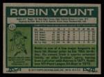1977 Topps #635  Robin Yount  Back Thumbnail