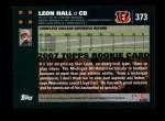 2007 Topps #373  Leon Hall  Back Thumbnail
