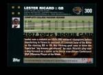 2007 Topps #300  Lester Ricard  Back Thumbnail