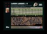 2007 Topps #385  LaRon Landry  Back Thumbnail