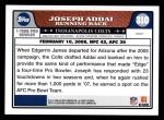 2008 Topps #310   -  Joseph Addai Pro Bowl Back Thumbnail