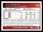 2009 Topps #190  Kellen Winslow Jr.  Back Thumbnail