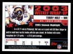 2004 Topps #298   -  Torry Holt Weekly Wrap-Up Back Thumbnail