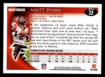 2010 Topps #22  Matt Ryan  Back Thumbnail