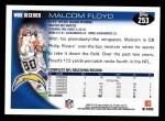 2010 Topps #253  Malcom Floyd  Back Thumbnail