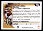 2010 Topps #265  Jimmy Graham  Back Thumbnail