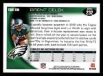 2010 Topps #232  Brent Celek  Back Thumbnail
