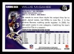 2010 Topps #178  Willis McGahee  Back Thumbnail