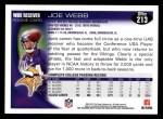 2010 Topps #213  Joe Webb  Back Thumbnail