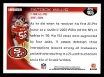 2010 Topps #405  Patrick Willis  Back Thumbnail