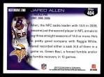 2010 Topps #404  Jared Allen  Back Thumbnail