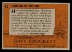 1956 Topps Davy Crockett #73   Fighting To The End  Back Thumbnail