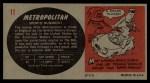 1961 Topps Sports Cars #11   Austin-Nash Metropolitan Back Thumbnail