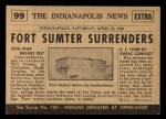 1954 Topps Scoop #99   Fort Sumter Surrenders Back Thumbnail