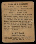 1941 Play Ball #39  Tommy Henrich  Back Thumbnail