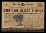 1954 Topps Scoop #77   Hurricane In Florida  Back Thumbnail