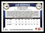 2011 Topps #110  Sam Bradford  Back Thumbnail