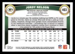 2011 Topps #403  Jordy Nelson  Back Thumbnail