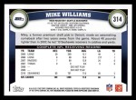 2011 Topps #314  Mike Williams  Back Thumbnail