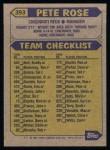 1987 Topps #393  Pete Rose  Back Thumbnail