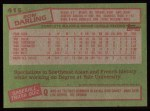 1985 Topps #415  Ron Darling  Back Thumbnail