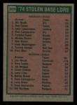 1975 Topps Mini #309   -  Lou Brock / Bill North SB Leaders   Back Thumbnail