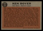 1962 Topps #392   -  Ken Boyer All-Star Back Thumbnail