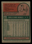 1975 Topps Mini #352  Darold Knowles  Back Thumbnail