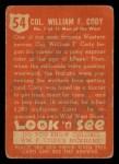1952 Topps Look 'N See #54  Buffalo Bill  Back Thumbnail