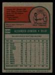 1975 Topps Mini #534  Alex Johnson  Back Thumbnail