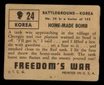 1950 Topps Freedoms War #24   Home-Made Bomb   Back Thumbnail