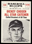 1961 Nu-Card Scoops #434   -   Bill Dickey  Dickey Chosen All-Star Catcher Front Thumbnail