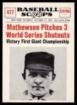 1961 Nu-Card Scoops #477   -   Christy Mathewson  Mathewson Pitches 3 WS Shutouts Front Thumbnail