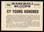 1961 Nu-Card Scoops #448   -   Cy Young  Cy Young Honored Back Thumbnail