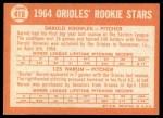 1964 Topps #418   -  Darold Knowles / Les Narum Orioles Rookies Back Thumbnail